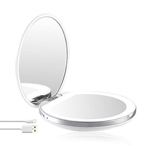 - LiboboLED Lighted Travel Makeup Mirror 1x/3x Magnification Folding Mirror (White)