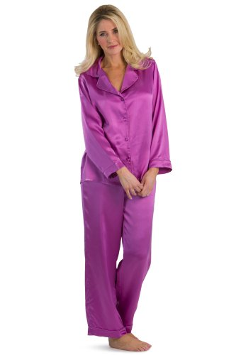 Fishers Finery Women's Classic Pure Mulberry Silk Pajama Set with Gift Box, Radiant Orchid, Medium