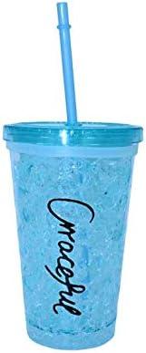 ML Vaso-Frio-Hielo con Doble Pared con Tapa y Pajita (acrílico, Reutilizable) no Necesita Hielo para Bebidas heladas Color Lila (Azul)