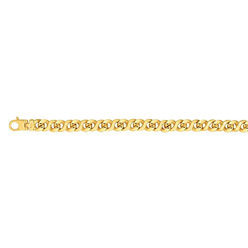 BH 5 Star Jewelry 14kt Gold 8.5'' Yellow Finish 8mm Shiny Oval Bracelet with Lobster Clasp by BH 5 Star Jewelry