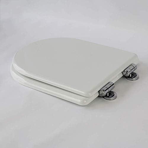 超抵抗性の上部固定厚さのU字型ソリッドウッド便座カバー付きバスルームの蓋家族の使用、ホワイト-41.5〜45.5CM * 36.5CMのS-優雅なトイレ蓋