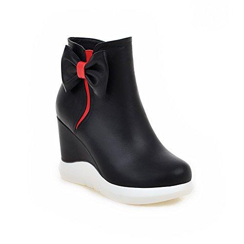 AgooLar Damen Niedrig-Spitze Gemischte Farbe Hoher Absatz PU Rund Zehe Stiefel Schwarz