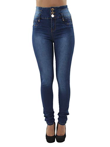 Women's Plus Size Colombian Design, Butt Lift, Push Up, High Waist, Skinny Jeans in Dark Blue Size 14 (Best Jeans For No Booty)