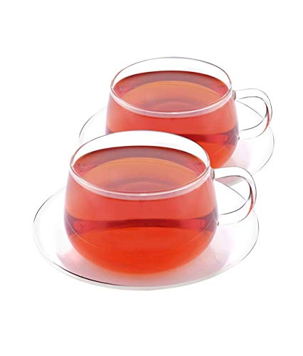 VAHDAM, Glitter - Set of 2 Tea Cup & Saucer | Borosilicate Glass Tea Cups & Saucers Sets | 8.45 oz Capacity - DURABLE - Tea Cup Set (4 Pcs) - Microwave, Refrigerator & Dishwasher Safe | Coffee Mugs