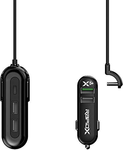 RapidX X5 Plus 5 Port USB Car Charger with Detachable Cable Black Black