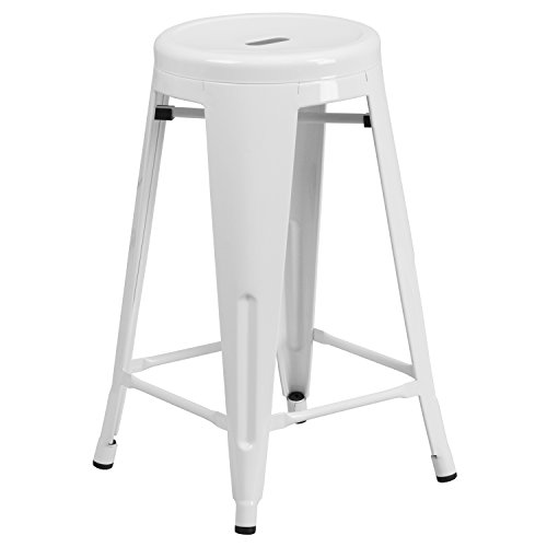 "Flash Furniture Backless Metal Indoor/Outdoor Stool with Round Seat, 24"", White"