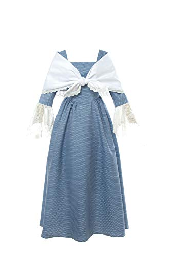 (SHANSHAN Woman's Pioneer Costume Colonial Printed Dress Lace Sleeve Prairie Outfit Daily Clothes with Shawl (Blue),)
