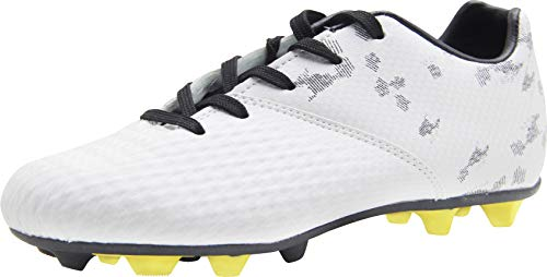 BomKinta Kid's FG Soccer Shoes Arch-Support Athletic Outdoor Soccer Cleats White Size 11.5 M US Little Kid ()