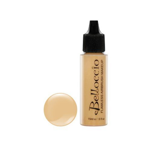 Yellow Airbrush Makeup - Belloccio's Professional Cosmetic Airbrush Makeup Foundation 1/2oz Bottle: Golden Tan- Medium Yellow Undertones by Belloccio