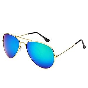 Desen Unisex Adult Aviator Sunglasses (Gold Green)