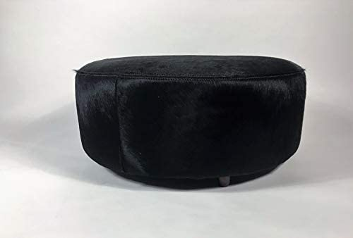 Gaucho Cowhides Solid Black Natural Cowhide Round Ottoman