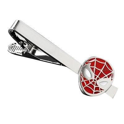 Red Spiderman Superhero Tie Clip Silver Blk Wedding Bar Clasp