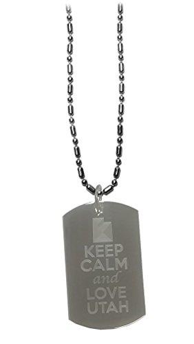 Hat Shark Logo del Estado «Keep Calm and Love Utah» – Etiqueta de Perro Militar, Etiqueta de Equipaje Collar de Cadena de...