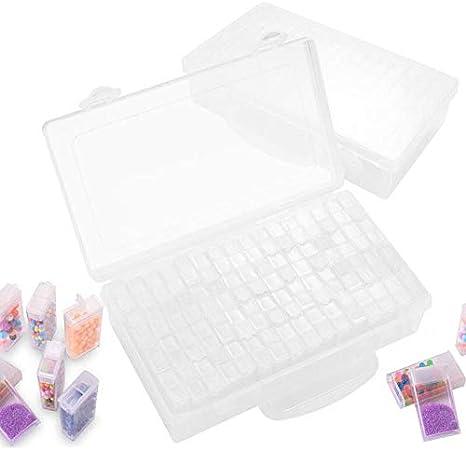 Herefun 64 Compartimento Plástico, Caja de Diamante de Pitura de Herramiente Transparente Almacenamiento, Rejillas Mini Caja de Bordado Almacenamiento de Cuentas: Amazon.es: Hogar