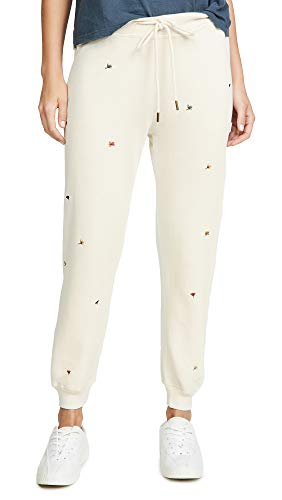 THE GREAT. Women's The Cropped Sweatpants with Multi Poppy Embroidery, Washed White, 1 ()