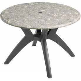 42u0026quot; Round Outdoor Table Top Only With Umbrella Hole   Tokyo Stone ...
