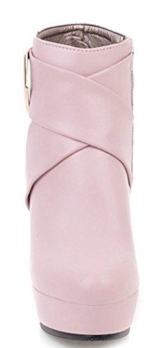 Block Pink Aisun Platform Booties Women's High Ankle Trendy Heels Zip Up wwqUBAI