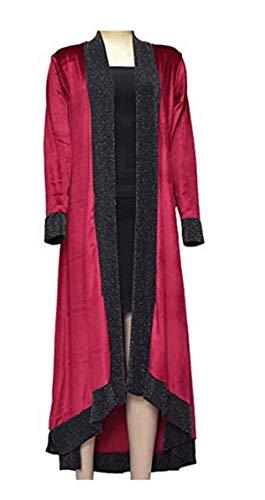 Maxi Celebmodelook Trench Ladies Coat New Size Lurex Cardigan Waterfall Plus Contrast Open Midi Wine Jacket Floaty LOOK Velvet Y05 Women CELEB 7wZSnS