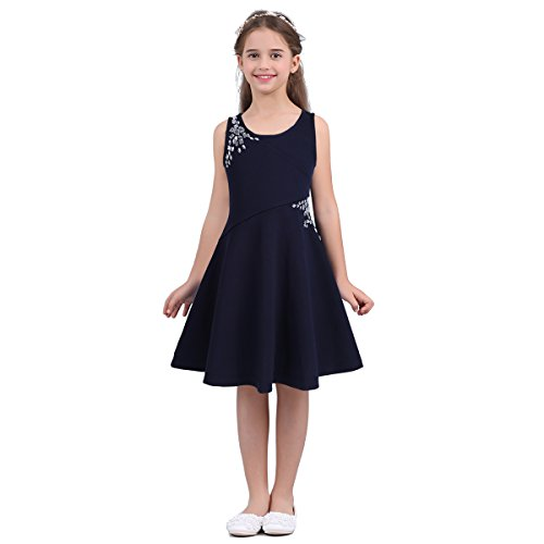 TiaoBug Little Big Girls Dazzling Rhinestones Tween Embellished Party Dress Casual Summer wear Dark Navy -