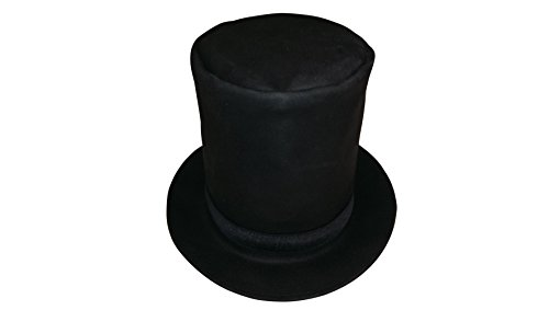 Sharpshooter Tall Leather Abraham Lincoln Stovepipe Black High Top Hat - Lincoln Stove
