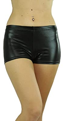 ToBeInStyle Women's High Waist Metallic Boyshorts Stretchy Liquid Material