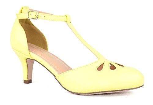 Chase & Chloe Kimmy-36 Donna Teardrop Cut Out T-strap Tacco Medio Pompe Giallo Pu Low