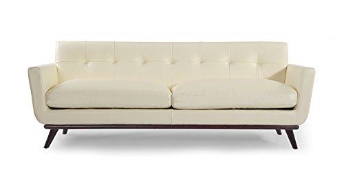 Kardiel Jackie Mid-Century Modern Classic Sofa, White Aniline Leather