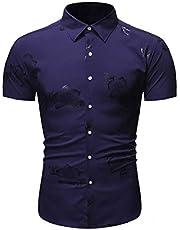 DUe Mens Casual Lapel Floral Printing Short Sleeve Colorblock Dress Shirts