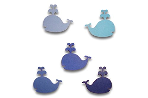 """Custom & Fancy {1"""" Inch} Approx 50 Pieces of Large """"Table"""" Party Confetti Made of Premium Card Stock w/ Boys Nautical Underwater Theme Cute Squirting Whale Cutout Shape Scatter Design [Blue]"""