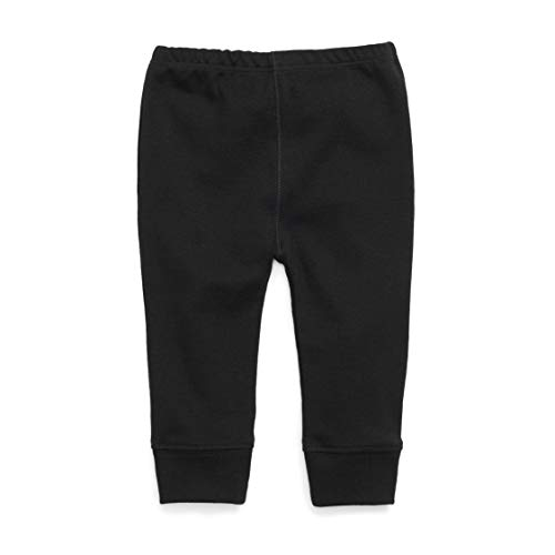 1212 Unisex Baby Pant Cuffed Ankle - 100% Organic Pima Cotton-Allergy Friendly (Black, 12-18 Months) ()