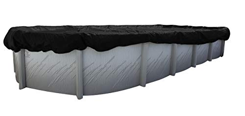 Buffalo Blizzard Deluxe Winter Cover for 18-Foot-by-36-Foot Oval Above Ground Swimming Pools | Blue/Black Reversible | 3-Foot Additional Material for Secure Installation