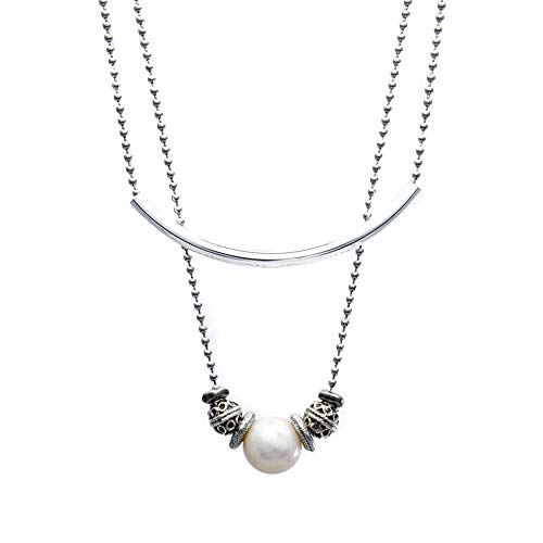Lizzy James Jasmine Stainless Steel 2 Strand Layered Necklace with Pearl and Silver Beads