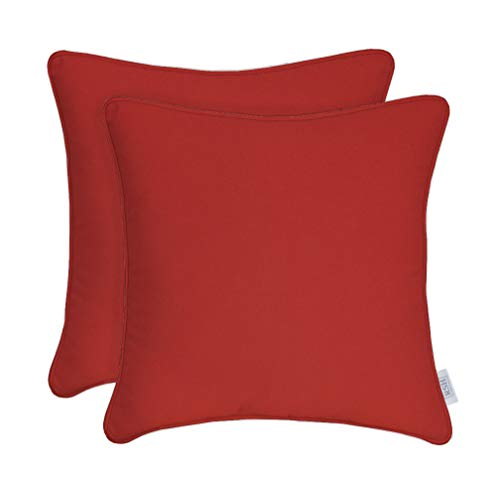 RSH Décor Set of 2 Indoor Outdoor Decorative Corded Square Throw Pillow Zipper Covers Made Sunbrella Canvas Jockey Red (Cover Only, 17