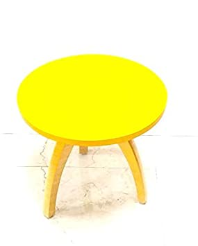 Detec Homze Wooden Round Shape End Table/Side Table/Coffee Table/Corner Table - Yellow Color-46 X 46 X 46 cms