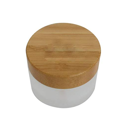1pcs Round Cosmetic Jar with Bamboo Lid Empty Frosted Glass Cream Container for Face Cream Samples Balms Makeup Emulsion size 50G/1.7oz