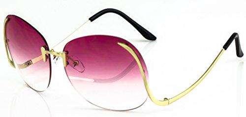 Elite RIMLESS OVERSIZED VINTAGE RETRO Butterfly Upside Down Sun Glasses