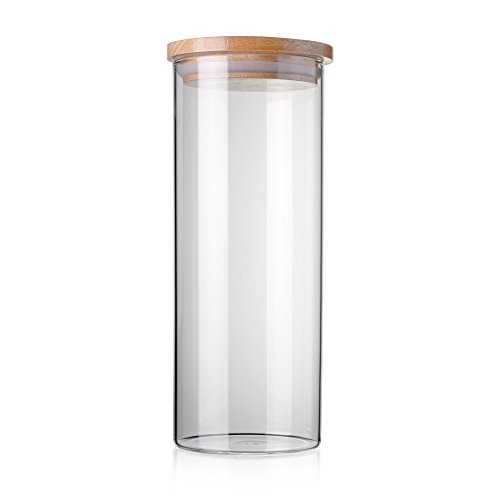 STACK UP Transparent Food Storage Canister - Safe Clear Borosilicate Glass Jar with Wooden Lid - Perfect Container for Kitchen Organization - Keeps Food Dry and Fresh - Cylinder, Capacity 47.3 fl oz.