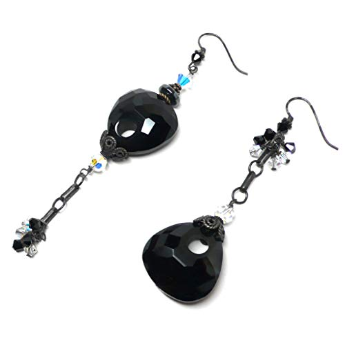 Chunky Faceted Keyhole Pear Black Agate Sterling Silver Asymmetrical Earrings