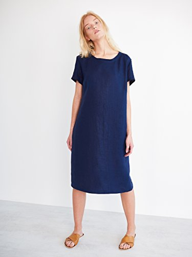 AVA Linen Tee Dress in Navy Blue Short Sleeve Simple Knee Length Summer Women Ladies Relaxed Loose Fit by Love and Confuse