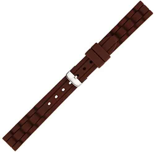 Kiiso Boy's and Girl's Textured Siicone Sports Watch Bands 14mm (Brown)