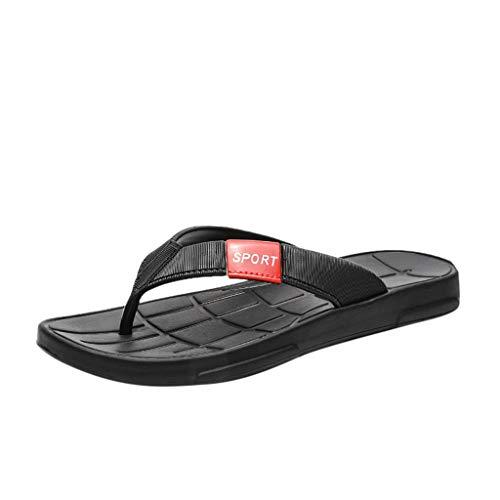 Corriee Mens Flip Flops Summer Casual Beach Shoes Non-Slip Indoor Outdoor Sandals Black
