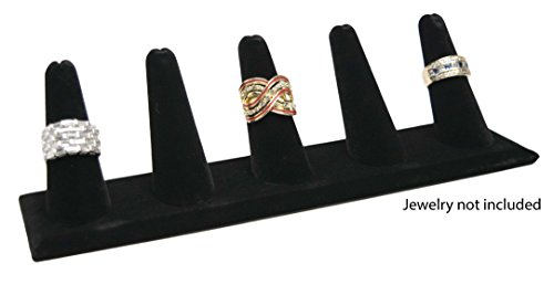 Novel Box 5 Finger Black Velvet Ring Stand Holder Jewelry Display 8X2X2