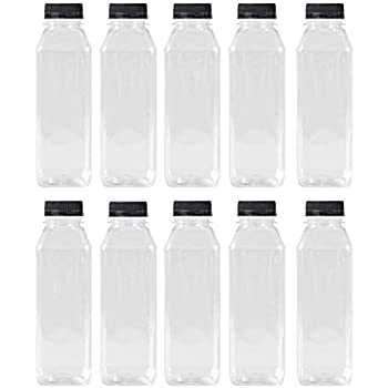 5d569f326f 16 Oz Clear Plastic Juice/Dressing PET Square Container Bottles w/ Black  Tamper Evident Caps by Pexale(TM)- (Pack of 10) (10)
