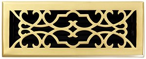 - Brass Elegans 120E PLB Solid Cast Brass Victorian Floor Register, Polished Brass Finish Model.