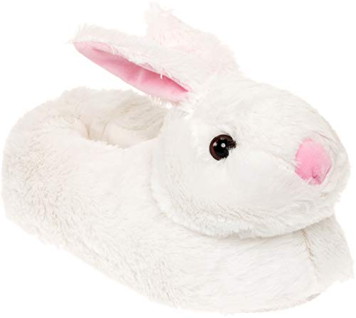 Silver Lilly Classic Bunny Slippers - Plush Animal Slippers (White, L) -