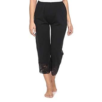 Mark-On Black Straight Capris Pant For Women