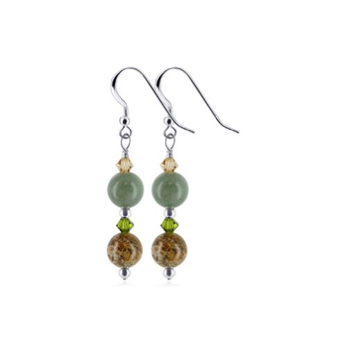 Gem Avenue 925 Sterling Silver Made With Swarovski Elements Green Jasper and Brown Crystal Handmade Drop Earrings