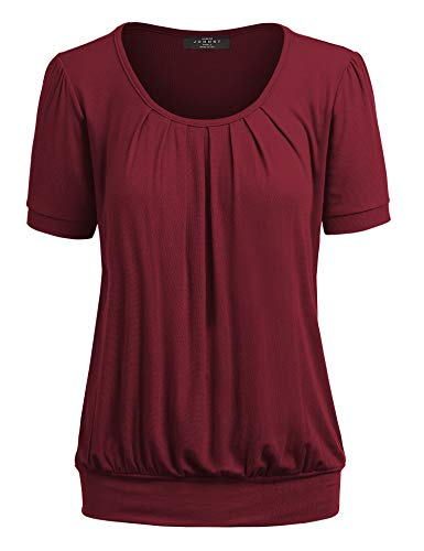 Made By Johnny MBJ WT1175 Womens Scoop Neck Short Sleeve Front Pleated Tunic XXL ()