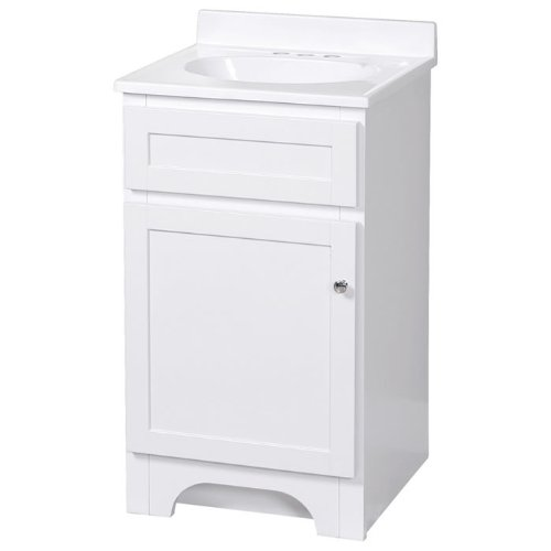 Foremost Chrome Vanity - Foremost COWAT1816 Columbia 18-Inch White Vanity with Marble Top