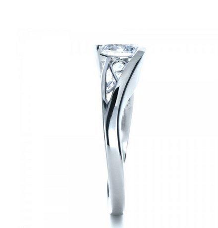 Gowe mignon 1CT Esdomera moissanites Bijoux en or massif 9K Or blanc diamant de fiançailles bague de mariage Couleur F Lab Cultivées Diamant